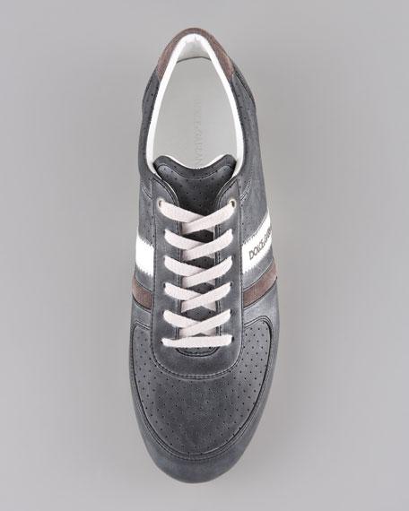 Perforated Logo Sneaker, Black