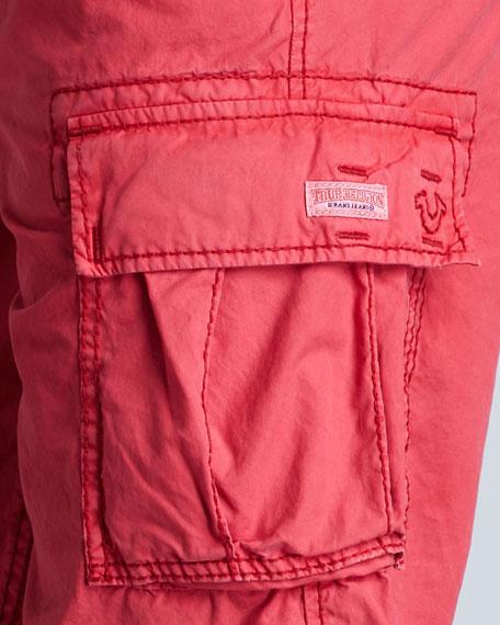 Samuel Overdyed Cargo Shorts, Red