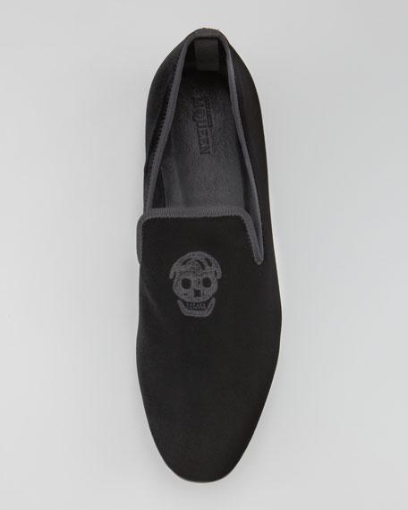 Embroidered Skull Velvet Loafer