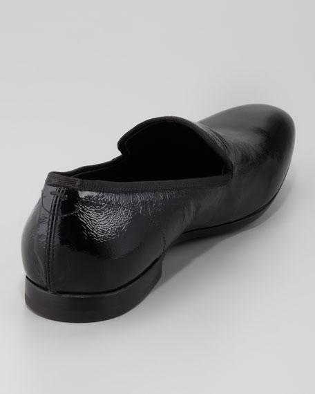Skull-Embossed Patent Loafer, Black