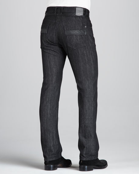 Leather-Trim Black Jeans