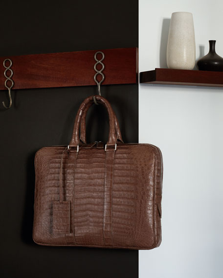 Slim Crocodile Briefcase, Taupe