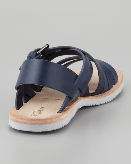 Leather Multi-Strap Sandal, Navy