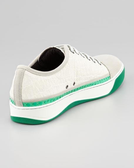 Python-Trimmed Suede Sneaker