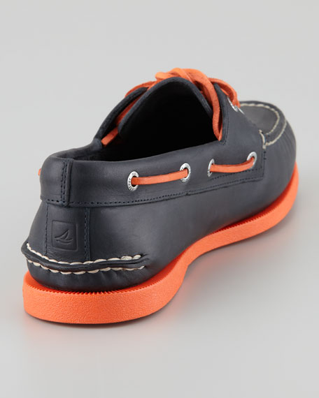 Authentic Original Boat Shoe, Navy/Orange
