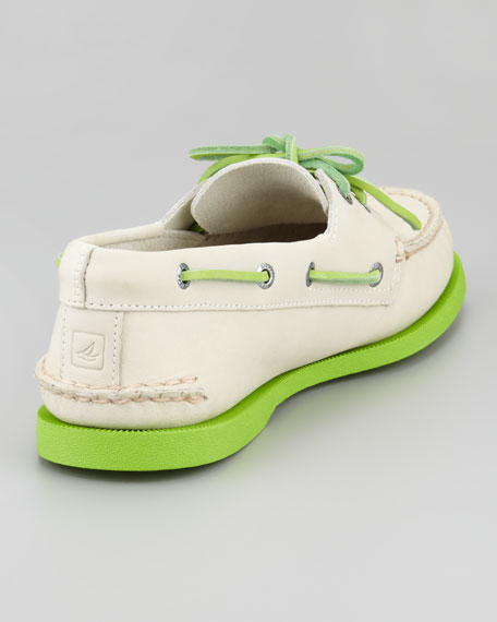 Authentic Original Boat Shoe, Off White/Green