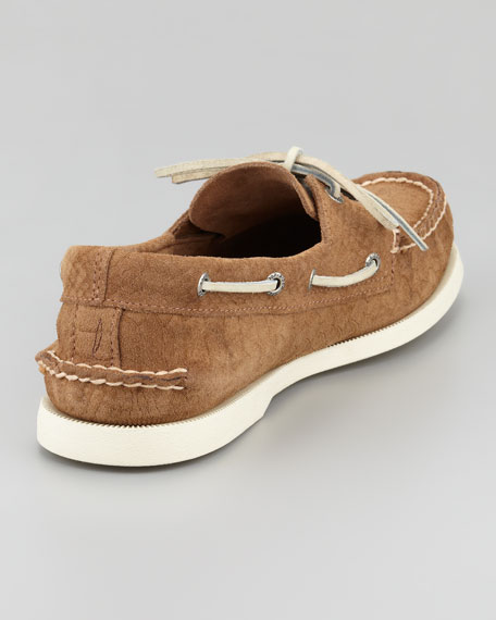 A/O Python-Embossed Suede Boat Shoe