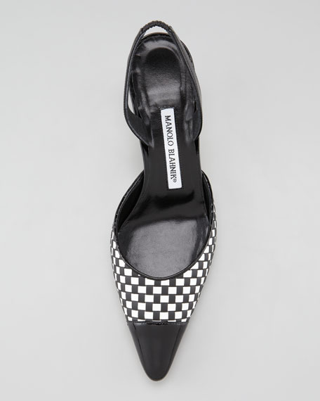 Carolyne Woven Low-Heel Halter Pump, Black/White