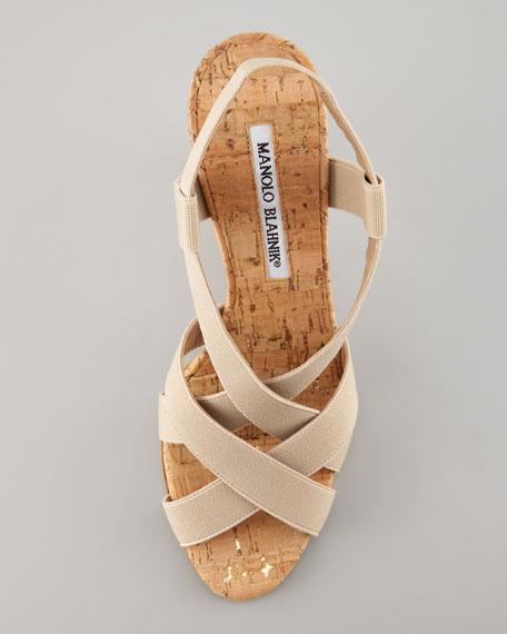 Lasti Crisscross Cork Slingback Sandal, Nude