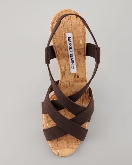 Lasti Crisscross Cork Slingback Sandal, Brown