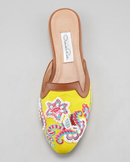 Floral-Embroidered Flat Mule, Lemon