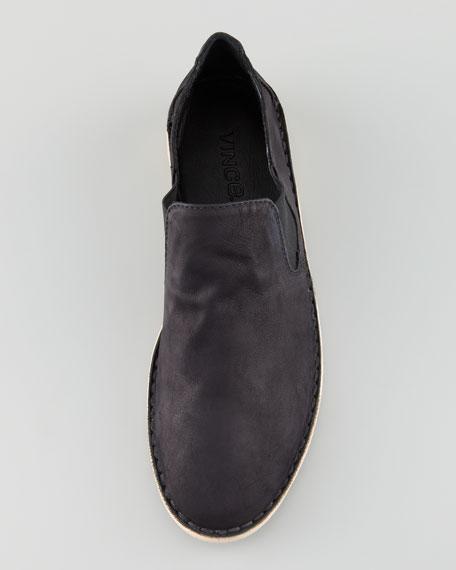 Mia Gored Nubuck Flat Slip-On, Black
