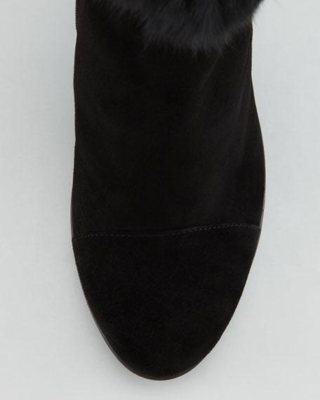 Pop Weatherproof Rabbit-Cuff Ankle Boot, Black