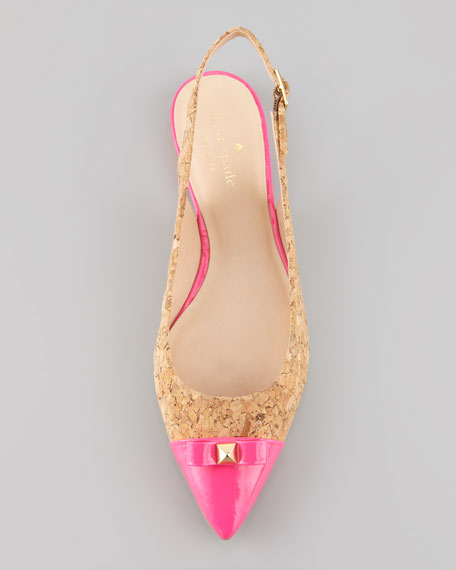 ginny cork slingback pointed-toe flat, pink