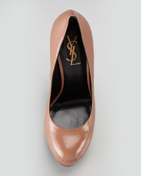 Tribute Two Patent Leather Pump, Dark Nude