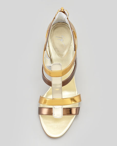 Tri-Metallic T-Strap Sandal