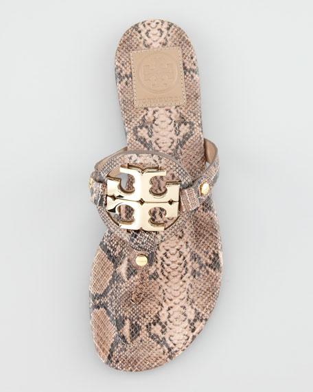 4cf381b39 Tory Burch Miller Snake-Embossed Logo Thong Sandal