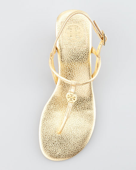 Emmy Metallic T-Strap Wedge Sandal