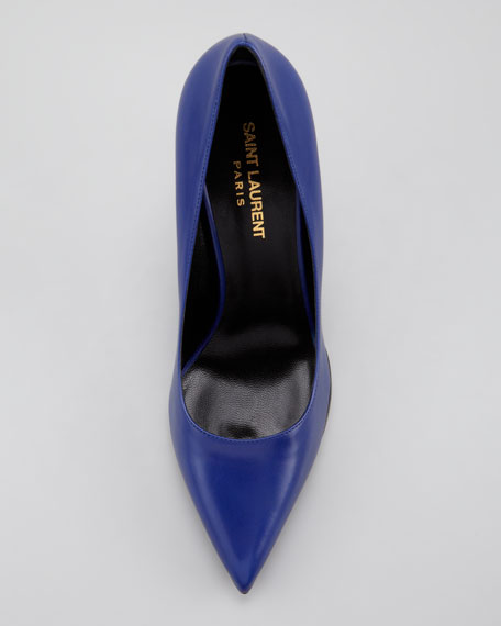 Paris Leather Pump, Blue de France