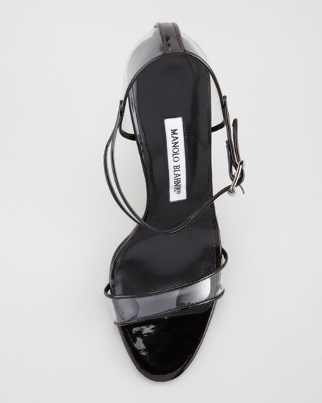 Fersen Vinyl and Patent Leather Sandal, White