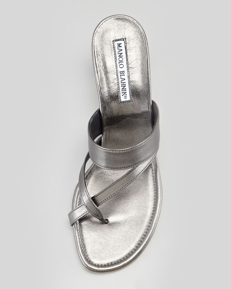 Susa Metallic Low-Heel Slide Thong Sandal