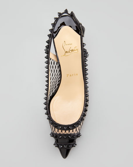 Manovra Spiked Lace Red Sole Slingback