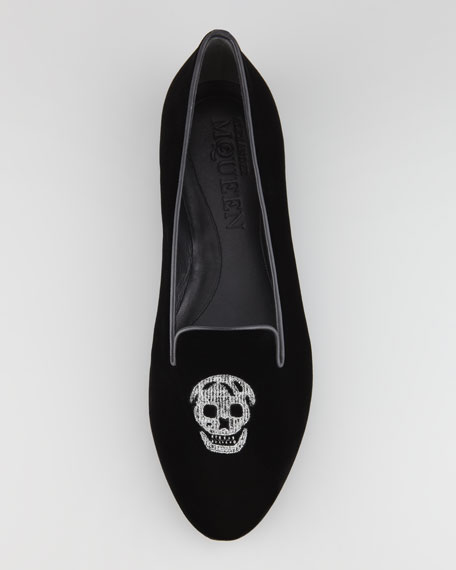 Embroidered Skull Smoking Slipper, Black