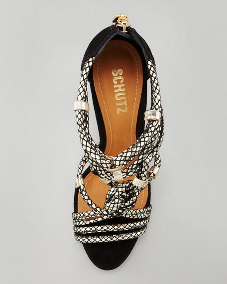 Aksaya Metallic Snake-Print Sandal