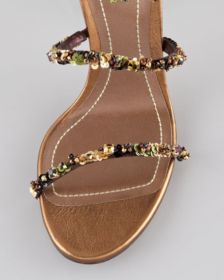 Jeweled Ankle-Wrap Sandal