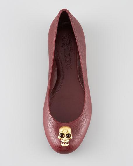 Skull-Detail Ballerina Flat, Maroon