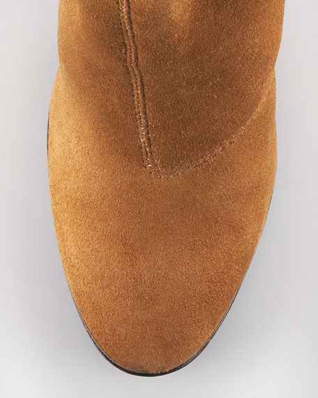 Suede & Leather Mid-Shaft Bootie