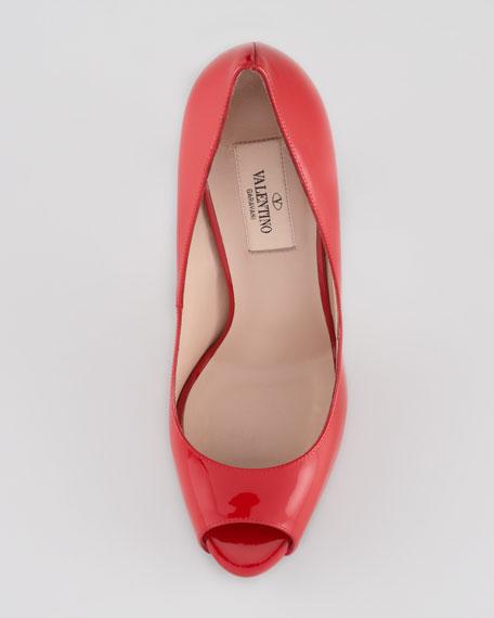 Patent Stud-Heel Pump, Red