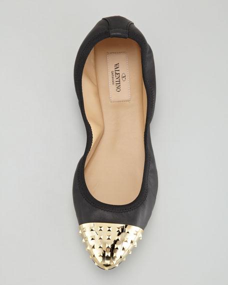 Rockstud Cap-Toe Ballerina Flat, Black