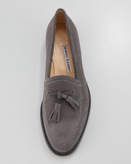 Aldena Tasseled Suede Loafer, Gray