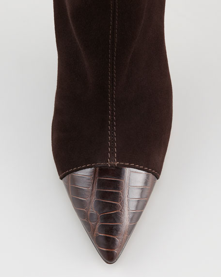 Grifon Alligator-Capped Suede Bootie, Brown