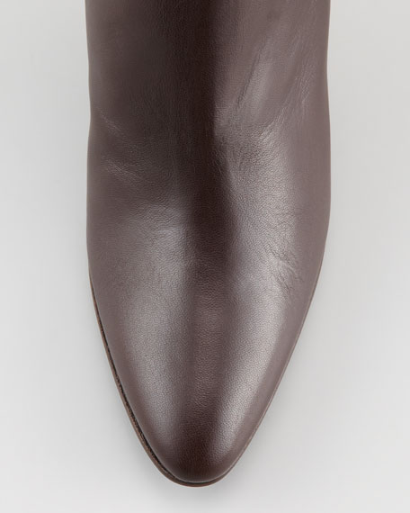 Maleeba Leather Mid-Heel Bootie, Brown