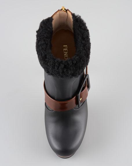 Moorland Shearling-Trim High-Heel Bootie