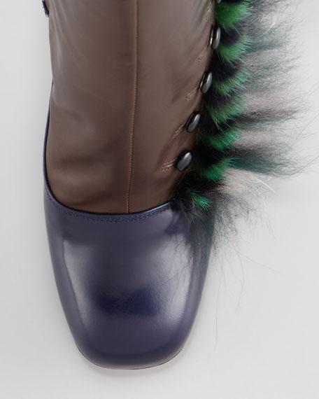 Victorian Feather Mink Fur Button Bootie