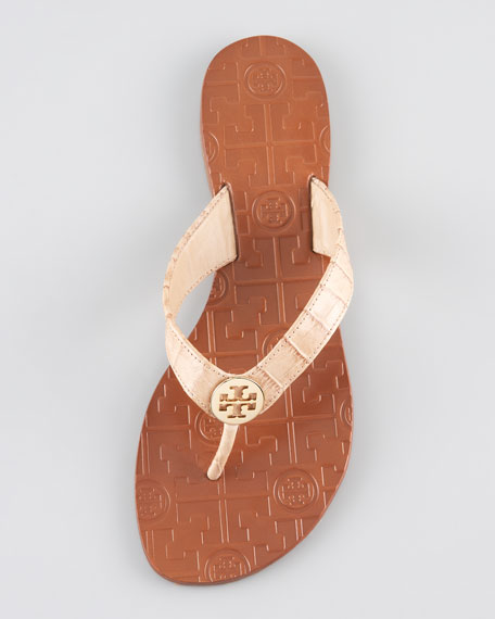 Thora Crocodile-Embossed Thong Sandal