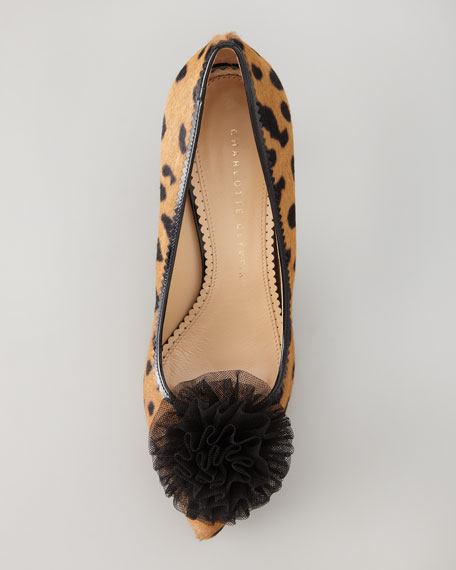 Desiree Tulle Pompom Pump, Leopard-Print
