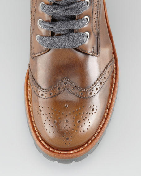 Spazzolato Wing-Tip Ankle Boot