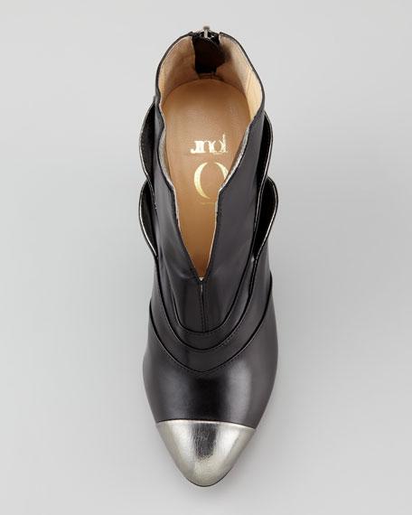 Metal-Cap-Toe Ankle Boot