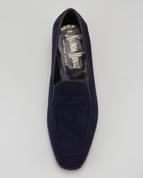 Flat Suede Loafer, Navy