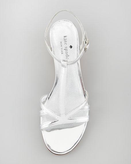 violet cork wedge sandal, Silver
