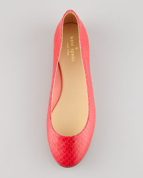kat snake-print ballerina flat, red