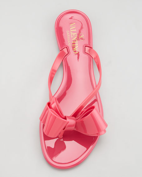 Jelly PVC Bow Thong Sandal, Pop Fuchsia