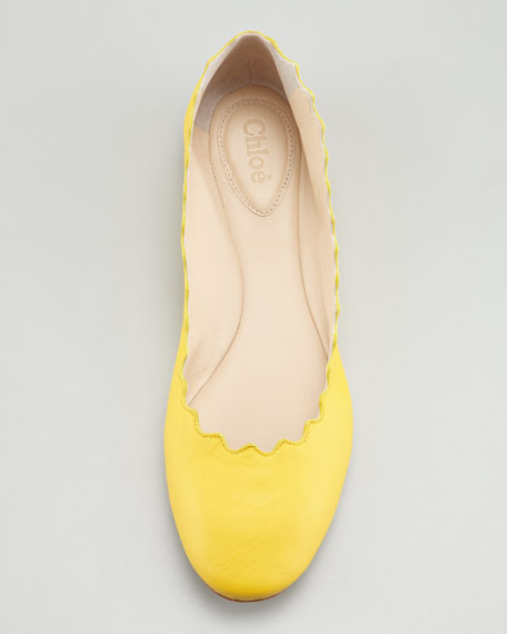 Scalloped Ballerina Flat, Yellow