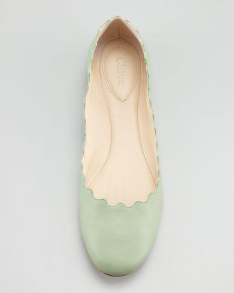 Scalloped Ballerina Flat, Turquoise