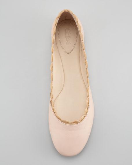 Scalloped Chain Ballerina Flat, Nude
