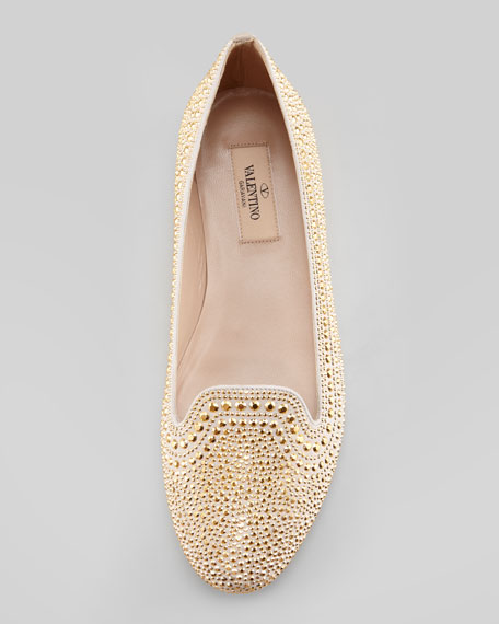 Micro-Studded Smoking Slipper, Gold